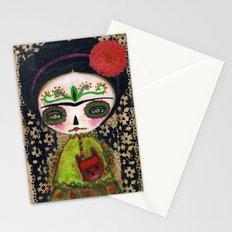 Frida The Catrina And The Devil - Dia De Los Muertos Mixed Media Art Stationery Cards