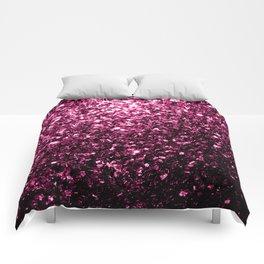 Beautiful Dark Pink glitter sparkles Comforters