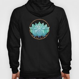 Modern Blue Succulent with Metallic Accents Hoody
