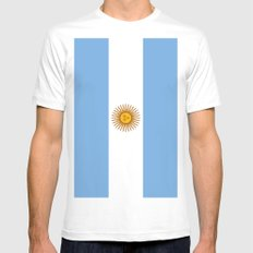 Flag Of Argentina Mens Fitted Tee White MEDIUM