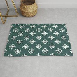 Snowflakes (White & Dark Green Pattern) Rug