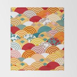 Nature background with japanese sakura flower, orange red pink Cherry, wave circle pattern Throw Blanket