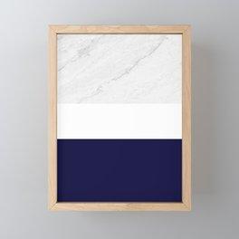 Marble White Royal Blue Framed Mini Art Print
