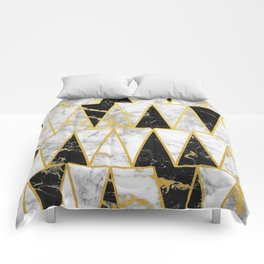 Mixed Marble Triangles // Gold Flecked Black & White Marble Comforters