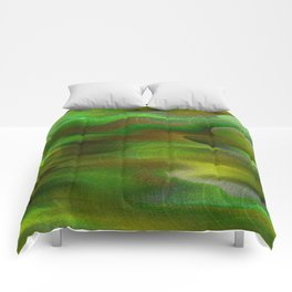 Waves of Abstraction (olive-apple-avocado green) Comforters