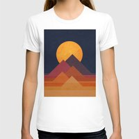 mountain T-shirts featuring Full moon and pyramid by Picomodi