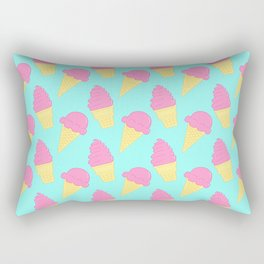 Pink Ice Cream on Blue Rectangular Pillow