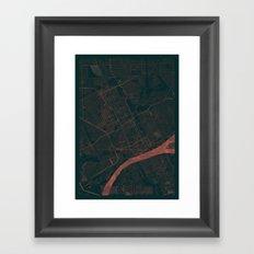 Detroit Map Red Framed Art Print
