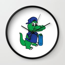 """Cute and adorable alligator perfect for your tee! """"Skate Freestyle Be cool"""" tee. Makes a nice gift!  Wall Clock"""