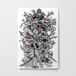 Nuclear Ninja Turtles Black and White Metal Print