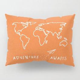 Adventure Map - Retro Orange Pillow Sham