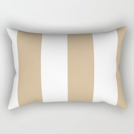 Wide Vertical Stripes - White and Tan Brown Rectangular Pillow