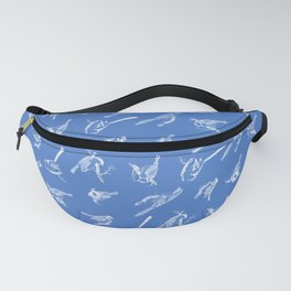 Small Passerine Birds Pattern on Blue Fanny Pack