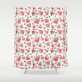 Watermelon popsicles, strawberries and chocolate Shower Curtain