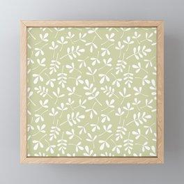 Assorted Leaf Silhouettes White on Lime Ptn Framed Mini Art Print
