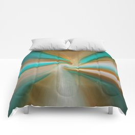 Blue green and brown art Comforters
