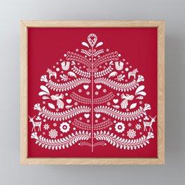 Scandinavian Folk Art Christmas Tree Framed Mini Art Print