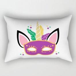 Mardi Gras Unicorn Mask Masquerade Costume Rectangular Pillow