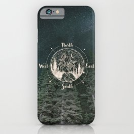 Mountains Compass Milky Way Woods Gold iPhone Case