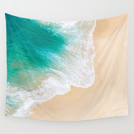Sand Beach - Waves - Drone View Photography Wall Tapestry