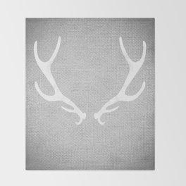 White & Grey Antlers Throw Blanket
