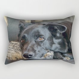 Sleepy Black Dog Resting Rectangular Pillow