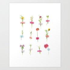 Watercolor Washi Tape Sprigs Art Print