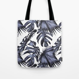 Classic Palm Leaves Navy Blue Tote Bag