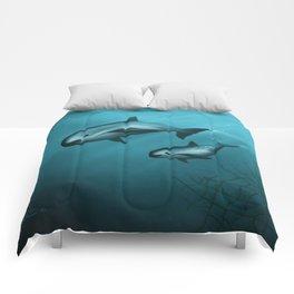 Treacherous Waters - Vaquita Porpoise Art, Original Digital Painting by Amber Marine, Copyright 2015 Comforters