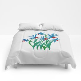 Hand painted watercolor floral blue and red flowers Comforters