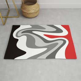 Liquid Mountain Abstract // Red, Gray, Black and White Rug