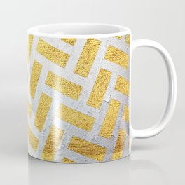 Brick Pattern 1 in Gold and Silver Coffee Mug