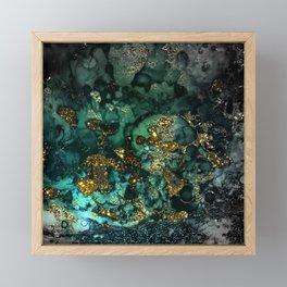 Gold Indigo Malachite Marble Framed Mini Art Print