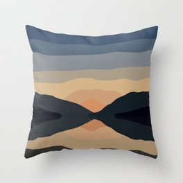 Sunset Mountain Reflection in Water Throw Pillow
