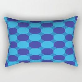 Triple Blue Octogons Rectangular Pillow