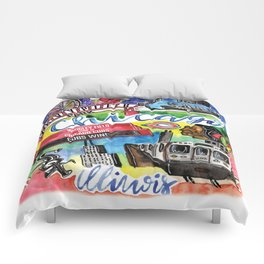 Chicago Watercolor Collage Comforters