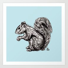 Blue Woodland Creatures - Squirrel Art Print
