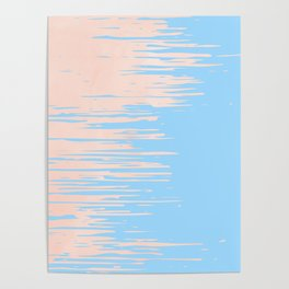 Carefree - Sweet Peach Coral Pink on Blue Raspberry Poster