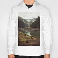 iphone 5 case Hoodies featuring Foggy Forest Creek by Kevin Russ