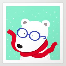 Hipster Polar Bear Art Print