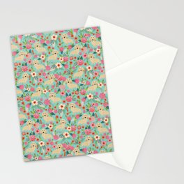 Dachshund longhaired cream doxie floral dog breed pet gift for dachsie lovers must haves Stationery Cards