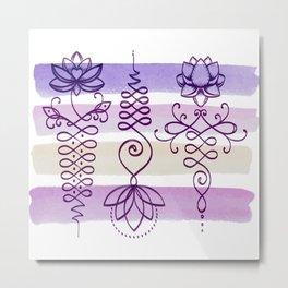 Unalome Lotuses - Purple Metal Print