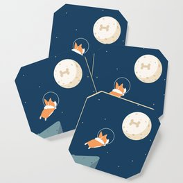 Fly to the moon _ navy blue version Coaster