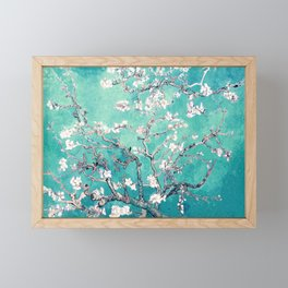 Vincent Van Gogh Almond Blossoms Turquoise Framed Mini Art Print