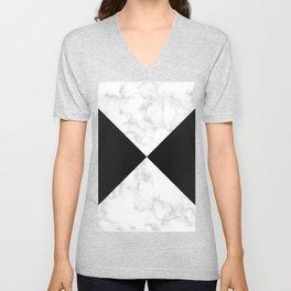 diagonal tiles marble black pattern Unisex V-Neck