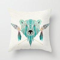 polar bear Throw Pillows featuring polar bear by Manoou