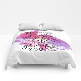 """Your Love is Better than Life"" Hand-Lettered Bible Verse Comforters"