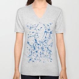 Splat Blue on White Unisex V-Neck