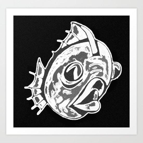 Fishy Fishy Fishy (black, white, and grey) Art Print