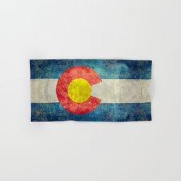 Colorado State Flag in Vintage Grunge Hand & Bath Towel